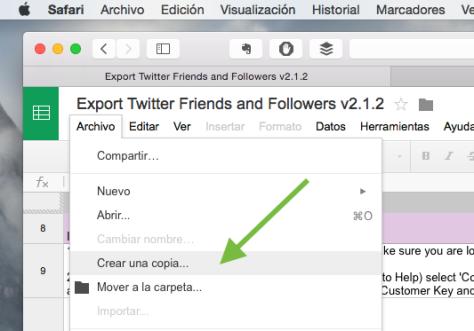 Exportar seguidores Twitter a hoja de cálculo Google o Excel