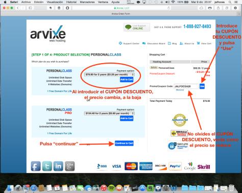 Contratación hosting Arvixe 4