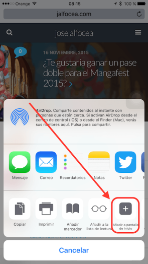 agregar icono a la pantalla de inicio iPhone