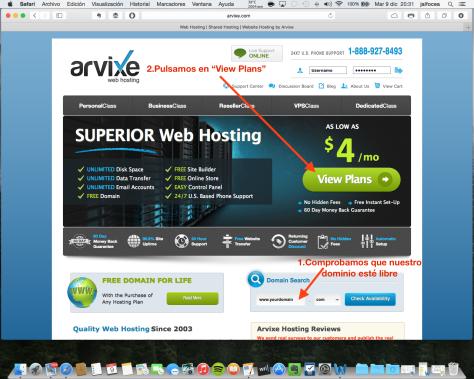 Contratación hosting Arvixe 1