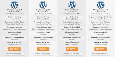 Hosting WordPress Webempresa oferta