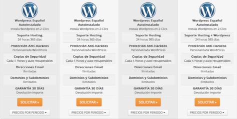 Hosting WordPress Webempresa oferta