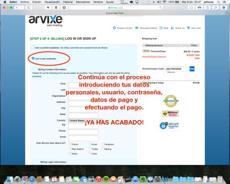 Contratación hosting Arvixe 5