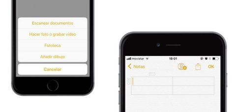 Aplicación Notas en iOS 11