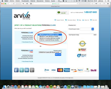 Contratación hosting Arvixe 3