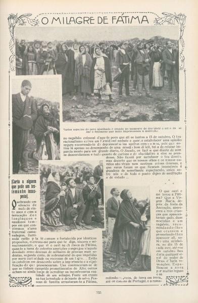 Periódico informando del Milagro de Fátima