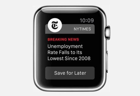 New York Times Apple Watch Periodismo de un vistazo Glance Journalism